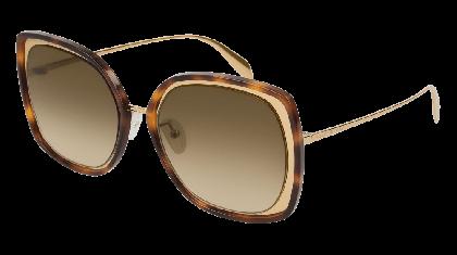 Alexander McQueen AM0151S-003 Gold - Havana Brown
