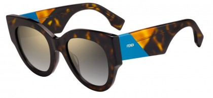 Fendi FF 0264/S 086 (FQ) Dark Havana - Grey Gradient Mirror
