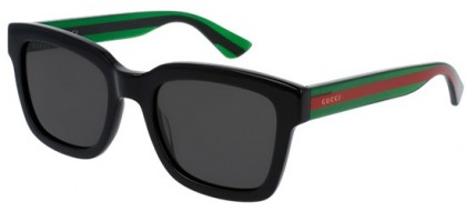 Gucci GG0001S-006 Black Green - Shiny Grey