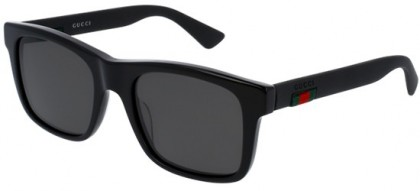 Gucci GG0008S-002 Black Black - Shiny Grey