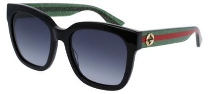 Gucci GG0034S-002 Black Green - Shiny Grey
