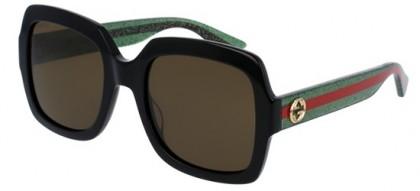Gucci GG0036S-002 Black Green - Shiny Brown