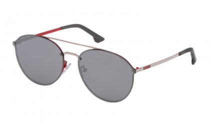 Police SK549 N54X Palladium Red Shiny - Smoke Mirror Silver