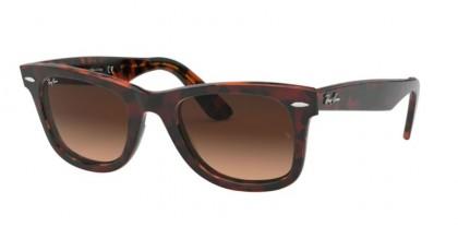 Ray Ban 0RB2140 1275A5 WAYFARER Top Tr Red On Orange Havana - Pink Gradient Brown