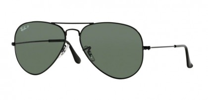 Ray-Ban 0RB3025 AVIATOR LARGE METAL 002/58 Black - Crystal Green Polarized