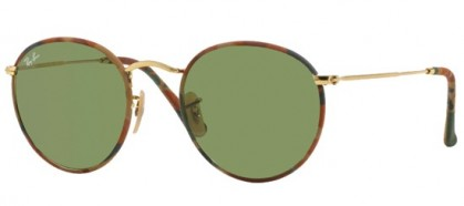 Ray-Ban 0RB3447JM ROUND METAL (M) 168/4E Camouflage Brown Green - Green