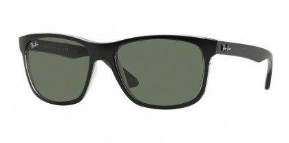 Rayban HIGHSTREET 0RB4181 RB4181 6130 Top Matte Black on Transparent Grey - Green