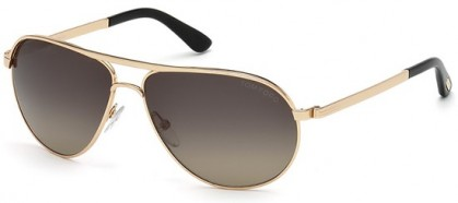 Tom Ford FT0144 28D Shiny Rose Gold Black - Dark Grey Shaded Polarized