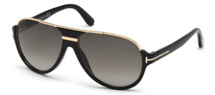 Tom Ford FT0334 01P Shiny Black Gold - Grey Shaded