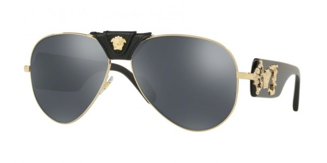 Versace 0VE2150Q 12526G ROCK ICONS Pale Gold - Grey Mirror Black