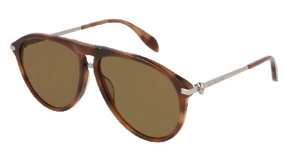 Alexander McQueen AM0134S-004 Havana Ruthenium - Brown Green