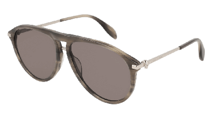 Alexander McQueen AM0134S-005 Havana Silver - Grey Grey