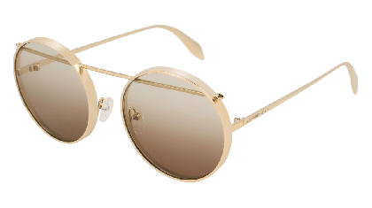 Alexander McQueen AM0137S-001 Gold - Light Brown
