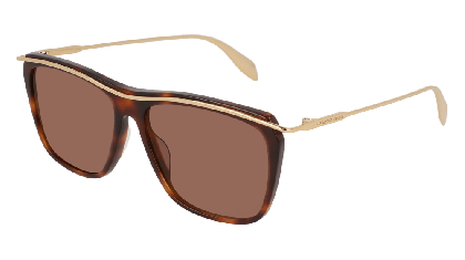 Alexander McQueen AM0143S-001 Havana Gold - Gold Brown
