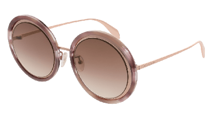 Alexander McQueen AM0150S-004 Gold - Havana Brown