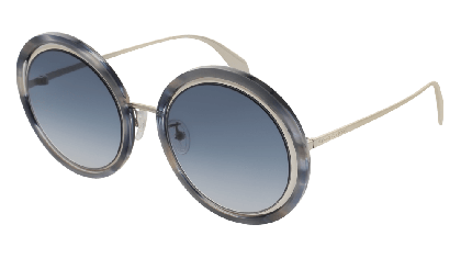 Alexander McQueen AM0150S-005 Silver - Havana Blue