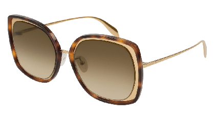 Alexander McQueen AM0151S-003 Gold - Havana Brown