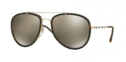 Burberry 0BE3090Q 10525A Brushed Gold Matte Dark Havana - Light Brown Mirror Dark Gold