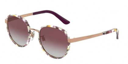Dolce & Gabbana 0DG2227J 12984Q Print Flower Power/Rose Gold - Grey Gradient Violet
