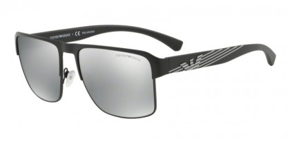 Emporio Armani 0EA2066 3001Z3 Matte Black - Polarized Grey Mirror Silver
