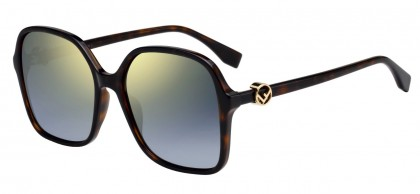 Fendi FF 0287/S 086 (FQ) Dark Havana - Gray Gradient Mirror