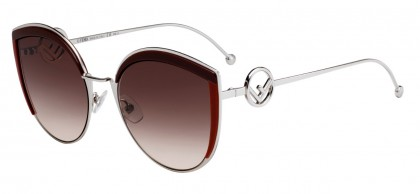 Fendi FF 0290/S LHF (HA) Matte Bordeaux Gray - Brown Gradient