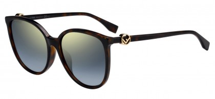 Fendi FF 0310/F/S 086 (FQ) Dark Havana - Gray Gold Gradient Mirror