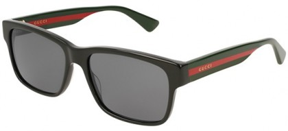 Gucci GG0340S-006 Black Multicolor - Shiny Grey