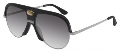 Gucci GG0477S-002 Black Shiny Ruthenium - Grey