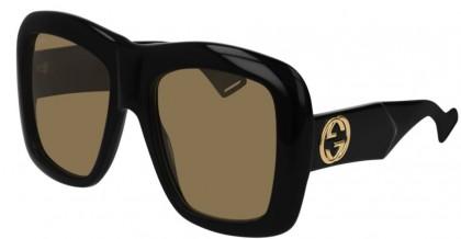 Gucci GG0498S-001 Black Shiny Black - Brown