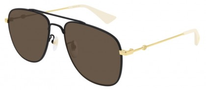 Gucci GG0514S-002 Black Shiny Gold - Brown