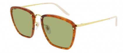 Gucci GG0673S-004 Havana Gold - Green Shiny