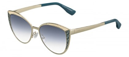 Jimmy Choo DOMI/S PTF (U3) Light Gold Aquamarine - Grey Shaded