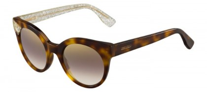 Jimmy Choo MIRTA/S Q3Y (NH) Havana Gold Glitter - Brown Gold Semi Mirror