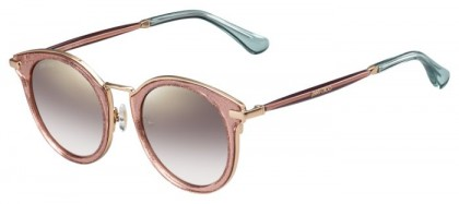Jimmy Choo RAFFY/S QAU (NH) Pink Red Glitter Gold - Brown Gold Semi Mirror