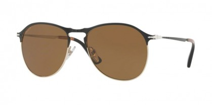 Persol 0PO7649S 107057 Matte Black Gold - Brown Polarized