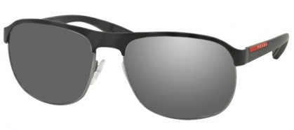 Prada Linea Rossa Sport SPS 51QS DG07W1 Black Gunmetal Rubber - Grey Mirror Silver