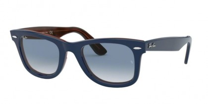 Ray Ban 0RB2140 12783F WAYFARER Top Blue On Red Havana - Clear Gradient Blue
