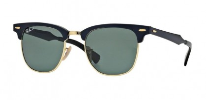 Ray Ban 0RB3507 CLUBMASTER ALUMINUM 136/N5 Black Arista - Green Polarized