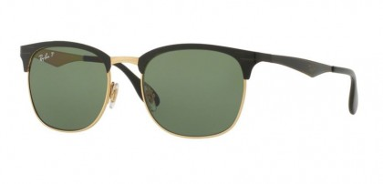 Ray Ban 0RB3538 187/9A Top Shiny Black on Gold - Dark Green Polarized