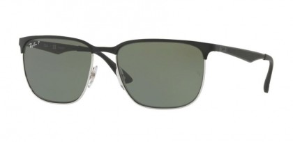 Ray Ban 0RB3569 9004/9A Silver Top Shiny Black - Dark Green Polarized
