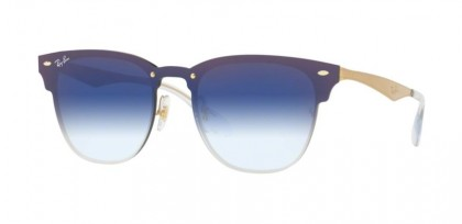 Ray Ban 0RB3576N 043/X0 BLAZE CLUBMASTER Brushed Gold - Clear Gradient Blue Mirror Red