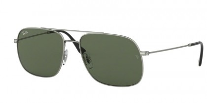 Ray Ban 0RB3595 911671 ANDREA Rubber Silver - Dark Green