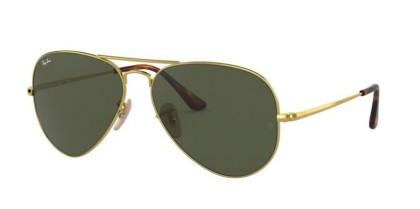 Ray Ban 0RB3689 914731 AVIATOR METAL II Gold - Crystal Green