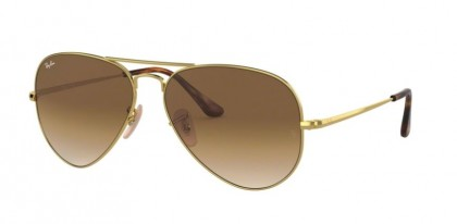 Ray Ban 0RB3689 914751 AVIATOR METAL II Gold - Clear Gradient Brown