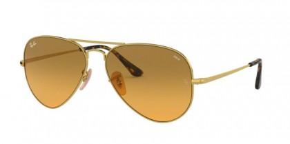 Ray Ban 0RB3689 9150AC AVIATOR METAL II Gold - Photo Orange Gradient Brown