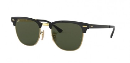 Ray Ban 0RB3716 187 CLUBMASTER METAL Gold Top On Black - Green