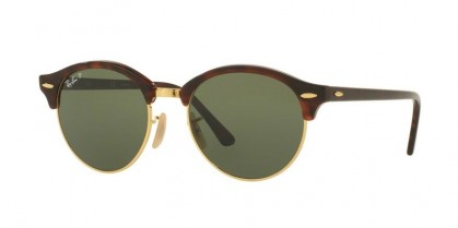 Ray Ban 0RB4246 CLUBROUND 990/58 Red Havana - Green Polarized