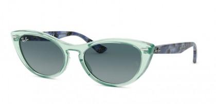 Ray-Ban 0RB4314N NINA 12853M  Trasparent Green - Blue Gradient Grey