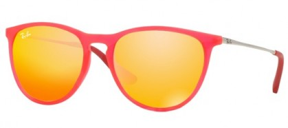 Rayban Junior 0RJ9060S 70096Q Fuxia Fluo Transparent Rubber - Brown Mirror Orange